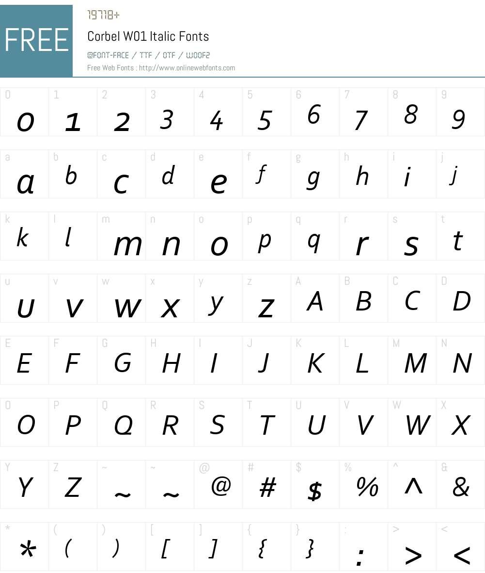 CorbelW01-Italic Font Screenshots