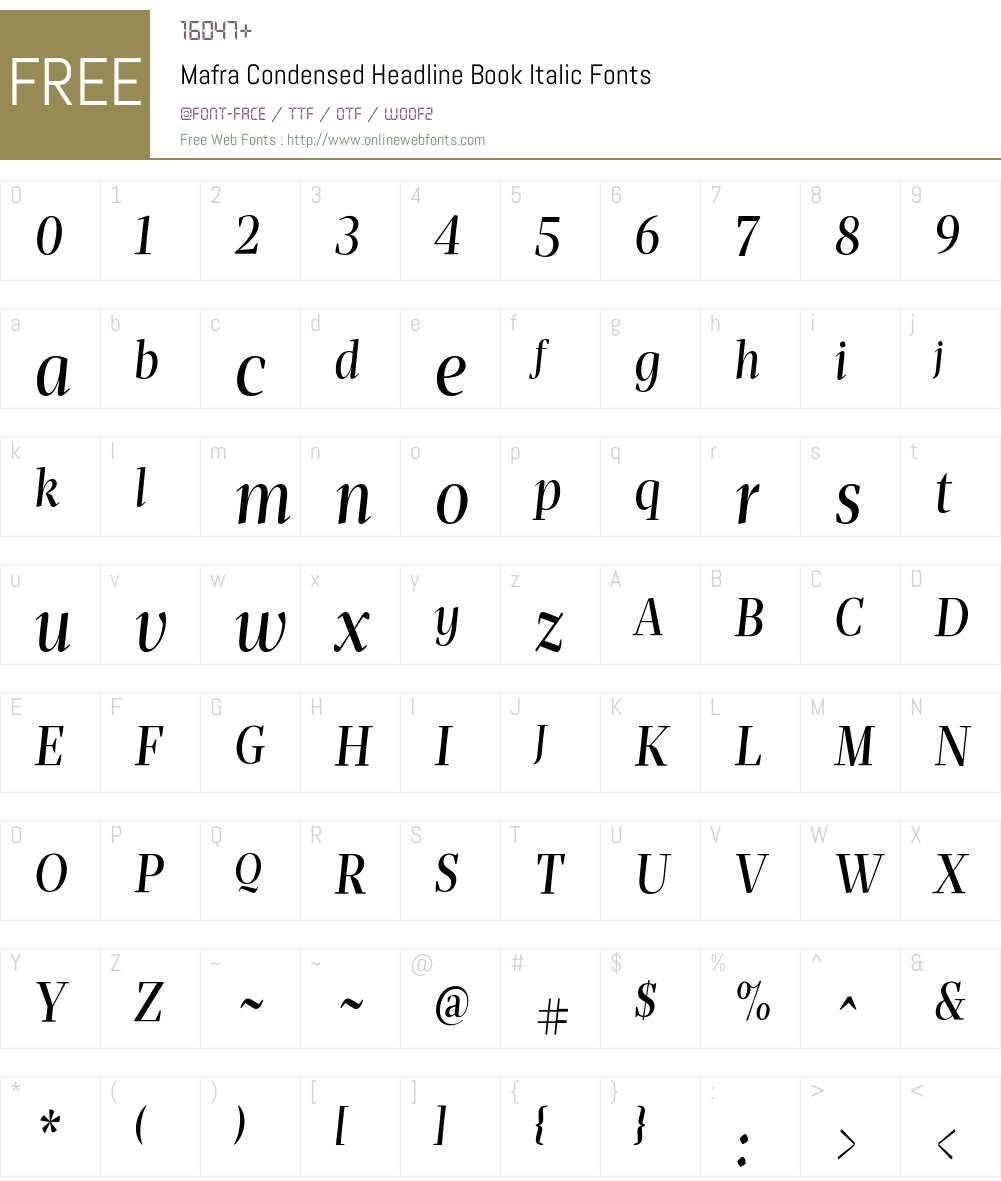 Mafra Condensed Headline Book It Font Screenshots
