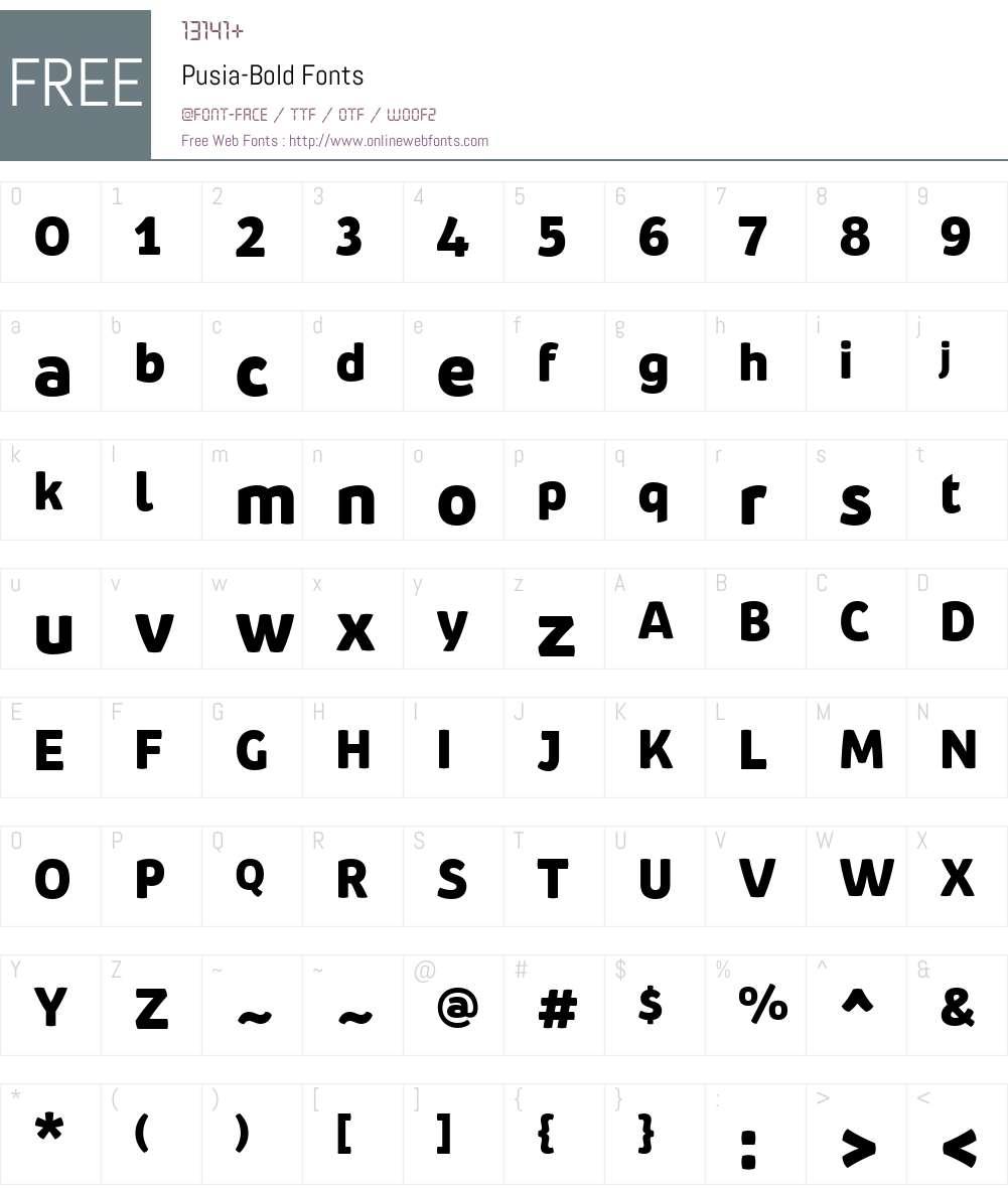 Pusia-Bold Font Screenshots