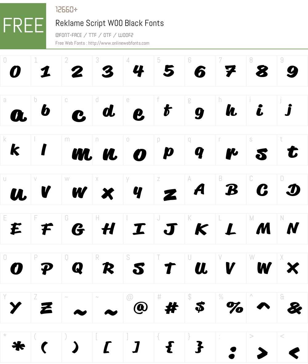 ReklameScriptW00-Black Font Screenshots
