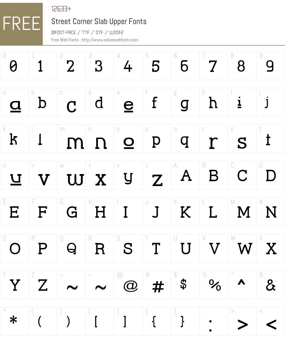 Street Corner Slab Upper Font Screenshots