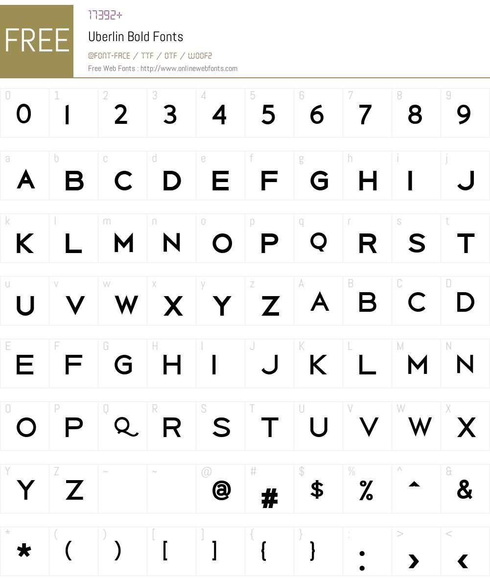 Uberlin Bold Font Screenshots