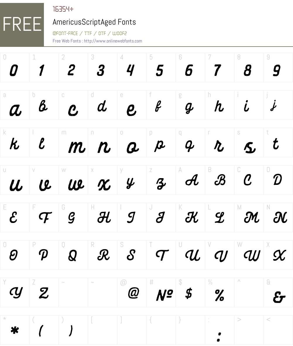 Americus Script Aged Font Screenshots