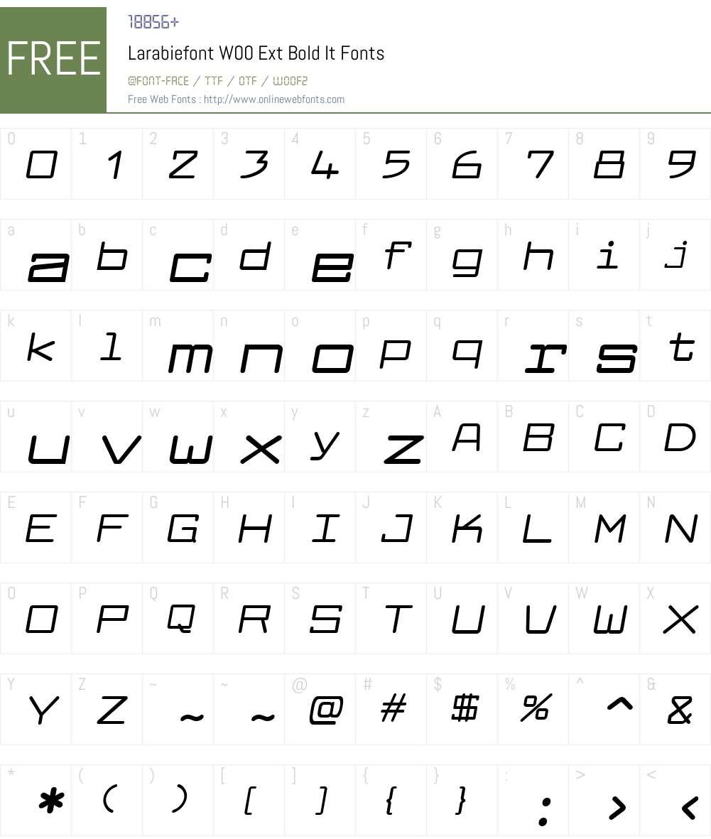 LarabiefontW00-ExtBoldIt Font Screenshots