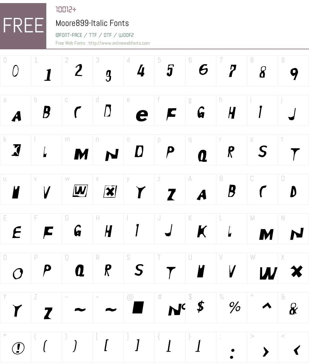 Moore899 Font Screenshots