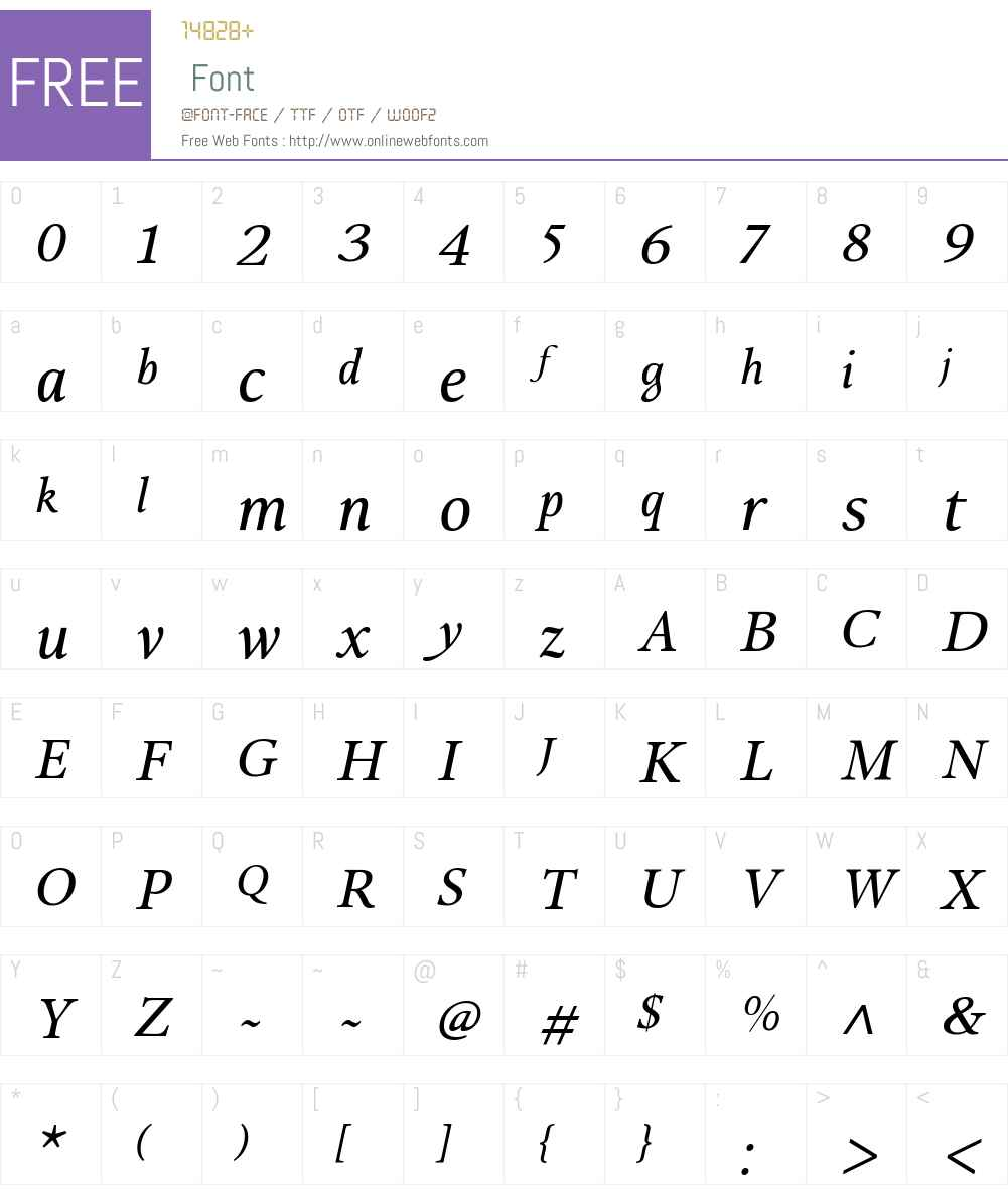 BagueTextRegular-Italic Font Screenshots