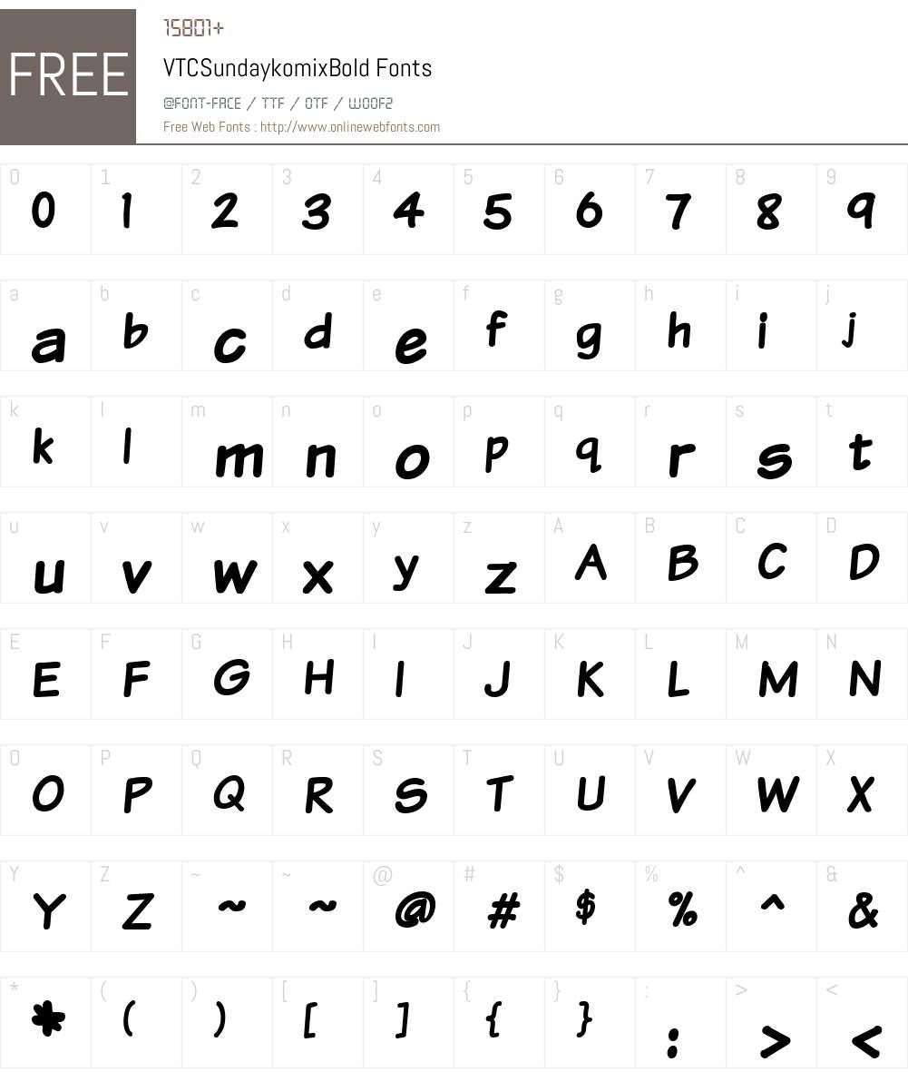 VTCSundaykomix Font Screenshots