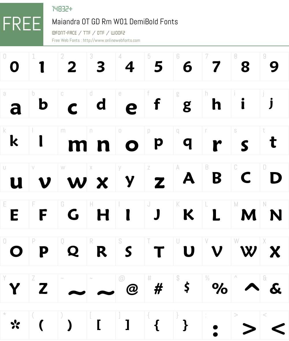MaiandraOTGDRmW01-DemiBold Font Screenshots