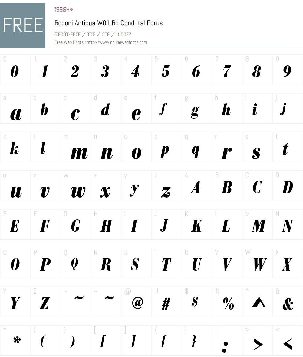 BodoniAntiquaW01-BdCondItal Font Screenshots