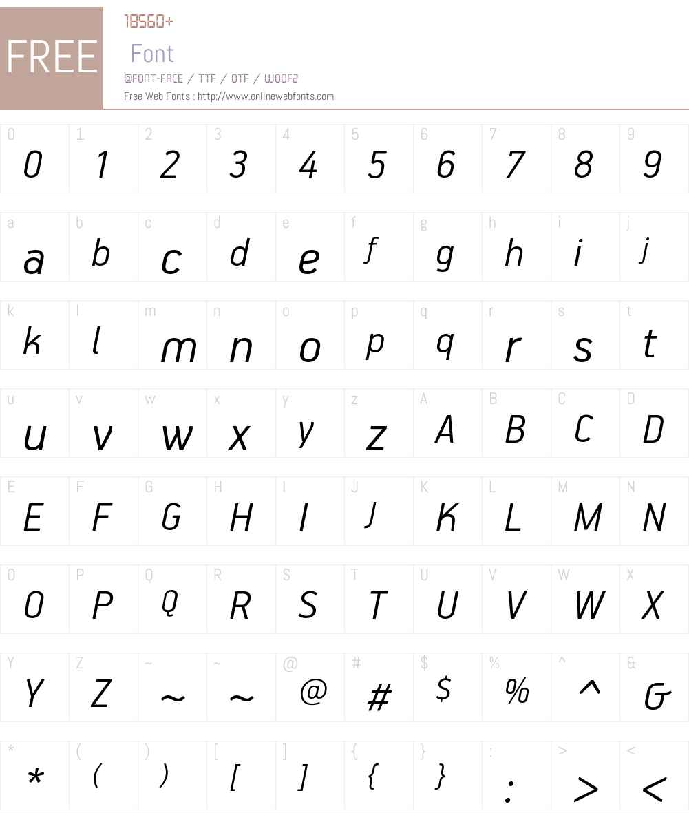 PFHandbookW01-LightItalic Font Screenshots