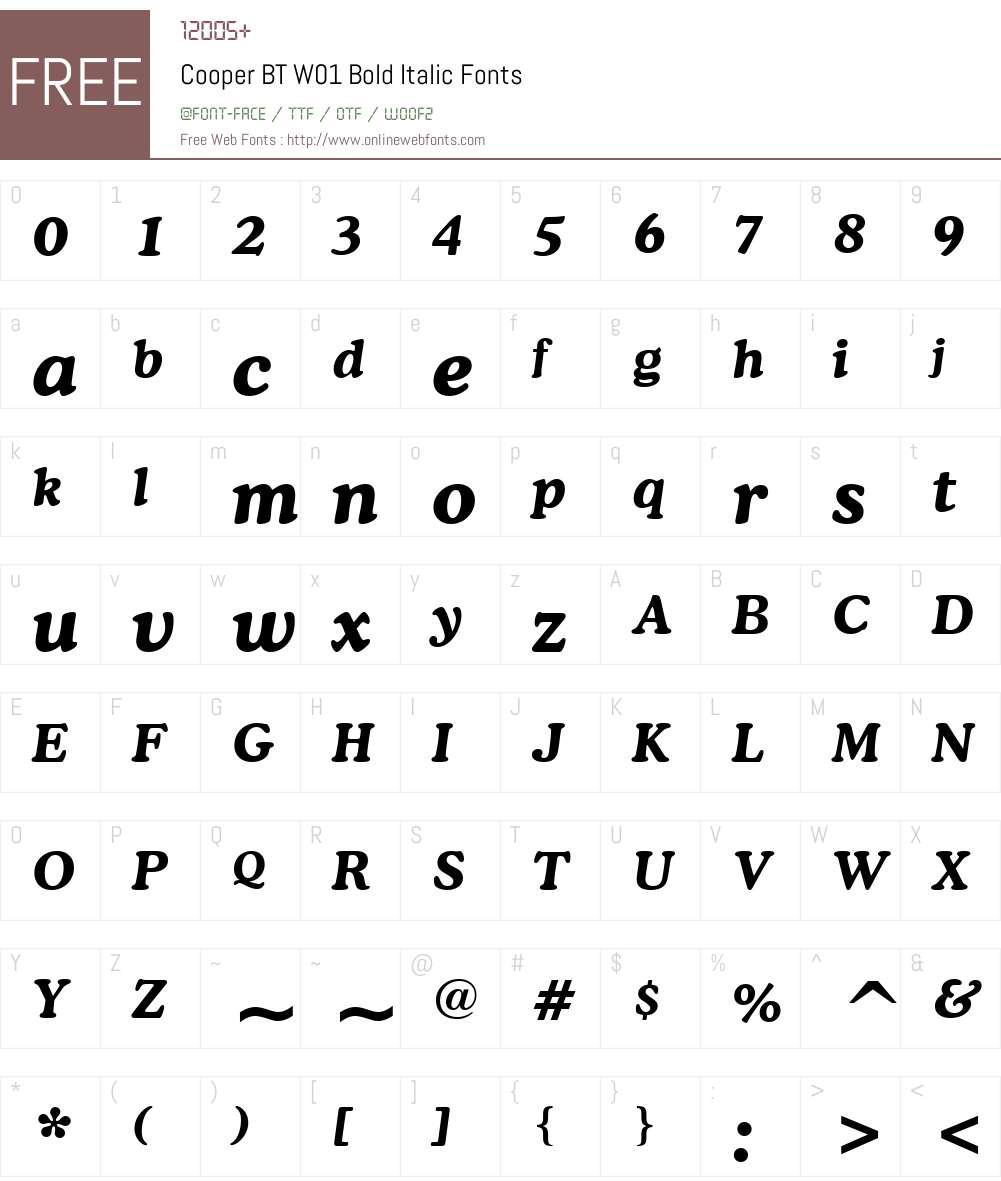 CooperBTW01-BoldItalic Font Screenshots