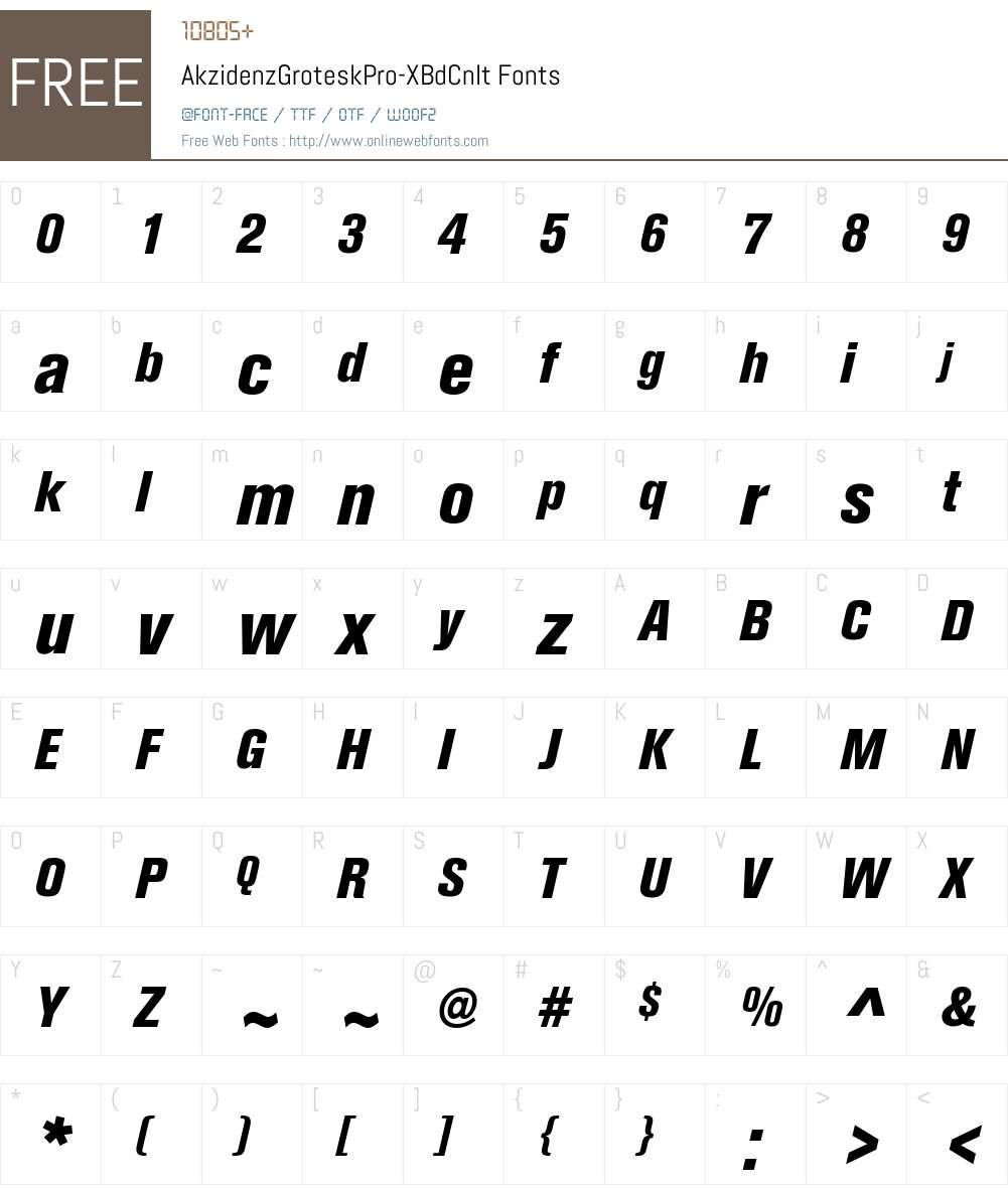 Akzidenz-Grotesk Pro XBd Cnd Font Screenshots