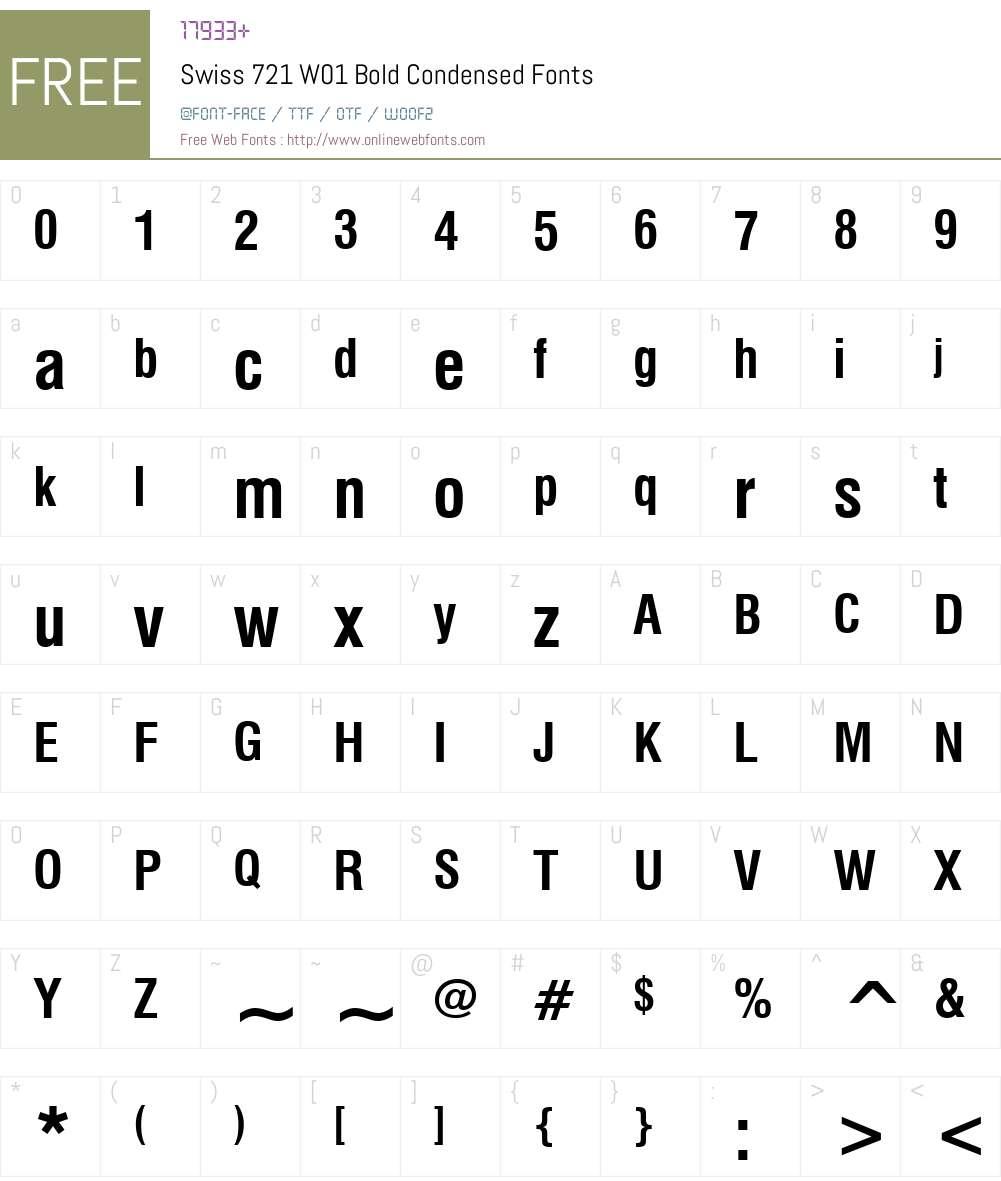 Swiss721W01-BoldCondensed Font Screenshots