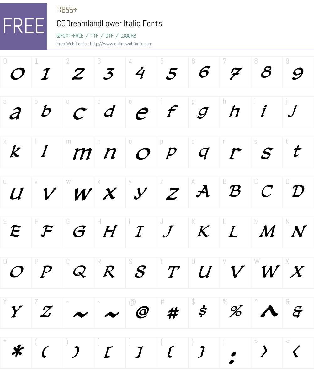 CCDreamlandLower-Italic Font Screenshots