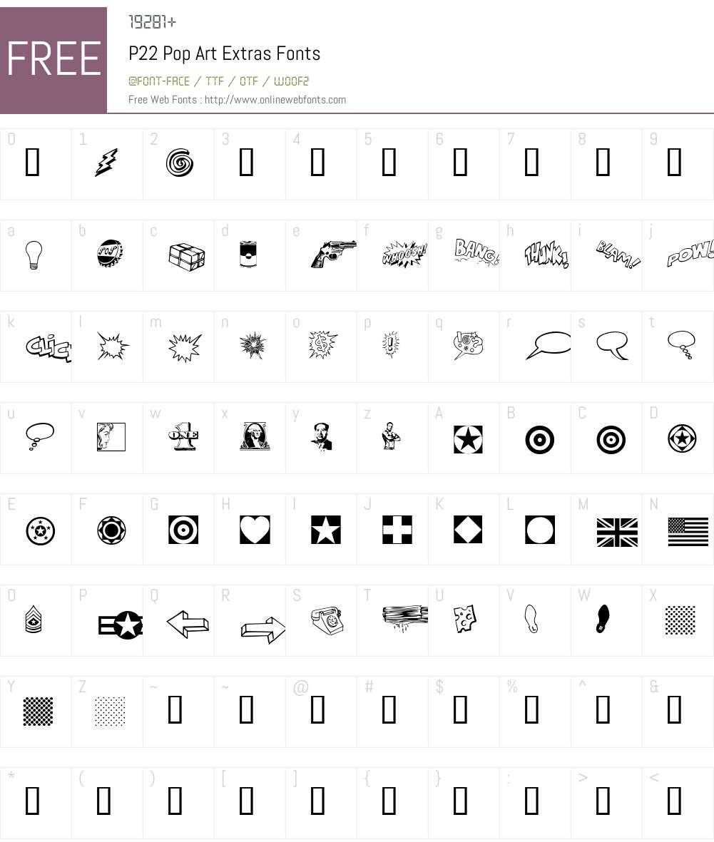 P22 Pop Art Font Screenshots