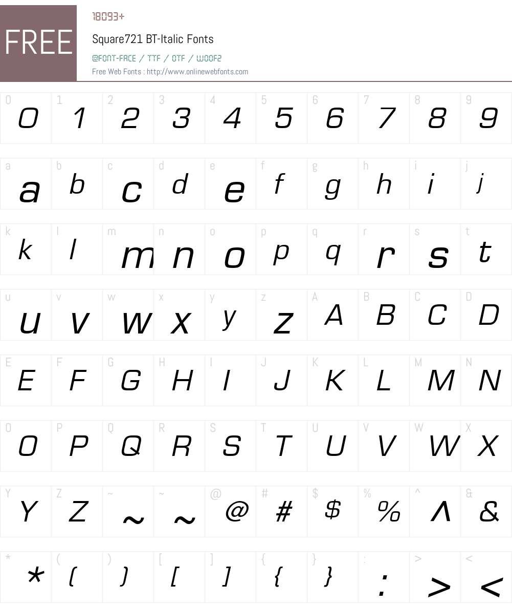 Square721 BT Font Screenshots