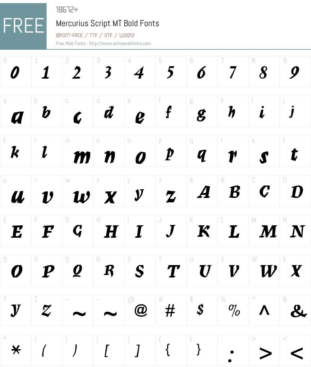 Mercurius Script MT Bold Font Screenshots