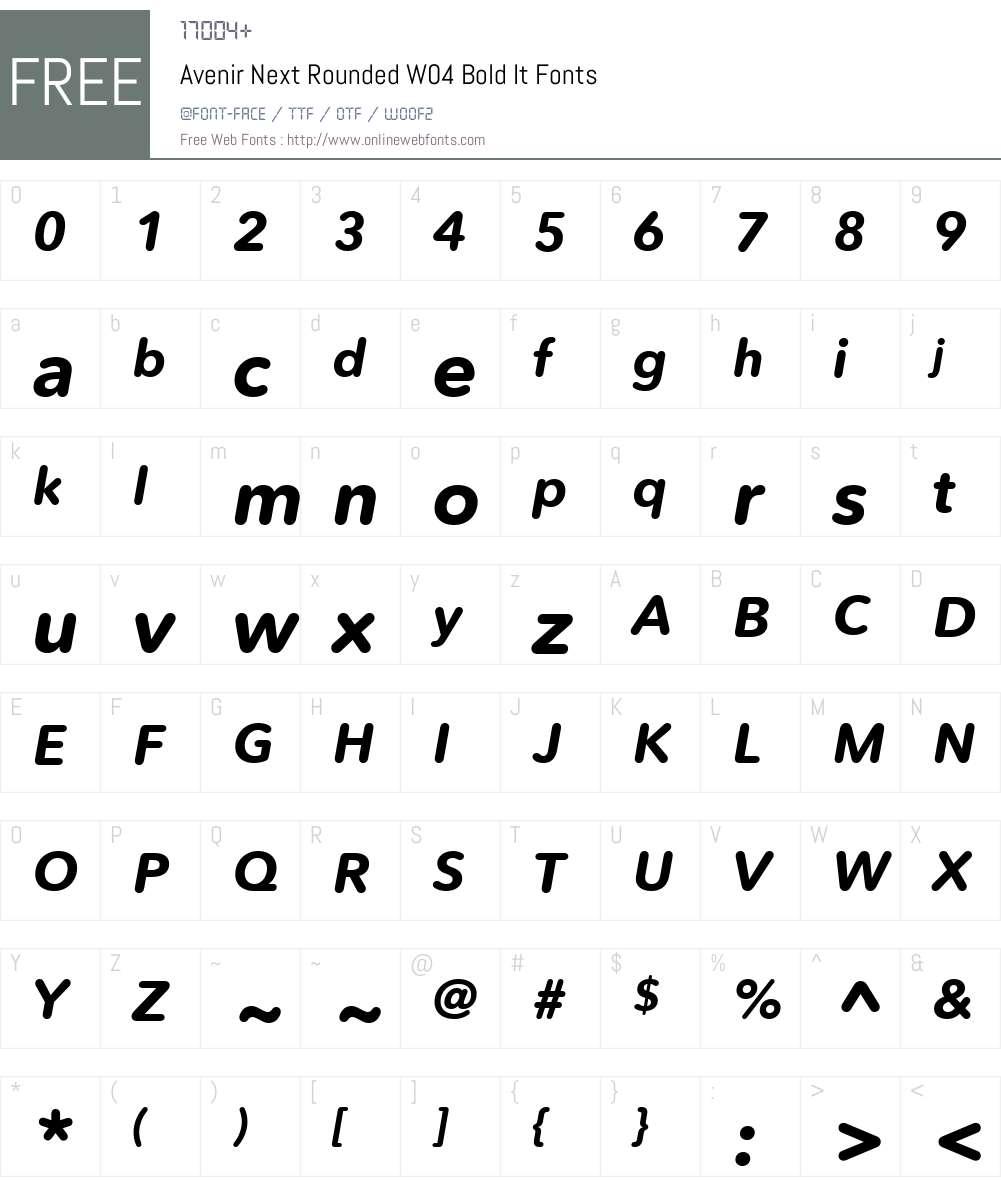 AvenirNextRoundedW04-BoldIt Font Screenshots