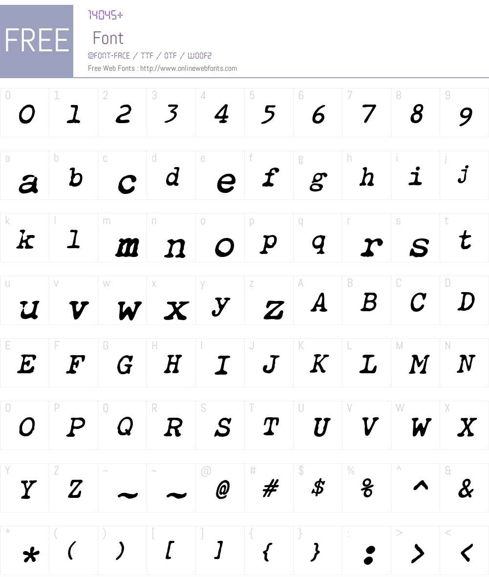 Obsolete Font Screenshots