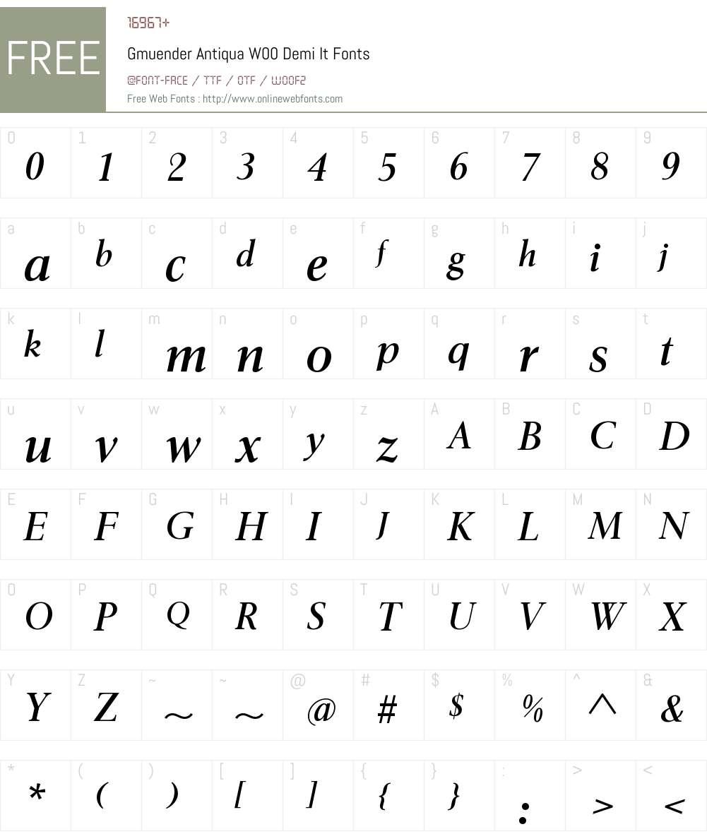GmuenderAntiquaW00-DemiIt Font Screenshots