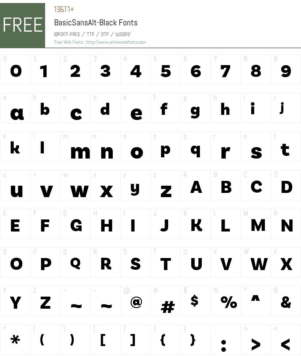 BasicSansAlt-Black Font Screenshots