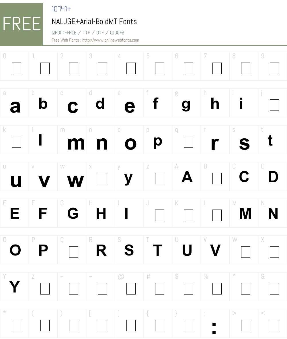 NALJGE+Arial-BoldMT Font Screenshots