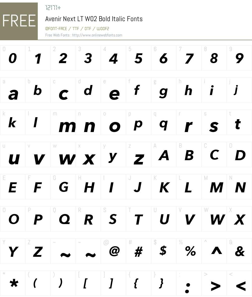 AvenirNextLTW02-BoldItalic Font Screenshots