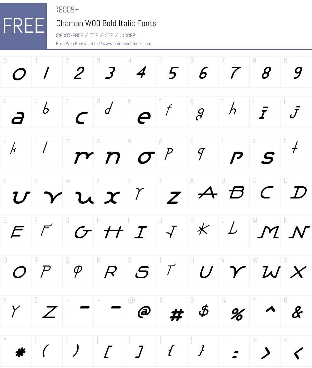 ChamanW00-BoldItalic Font Screenshots