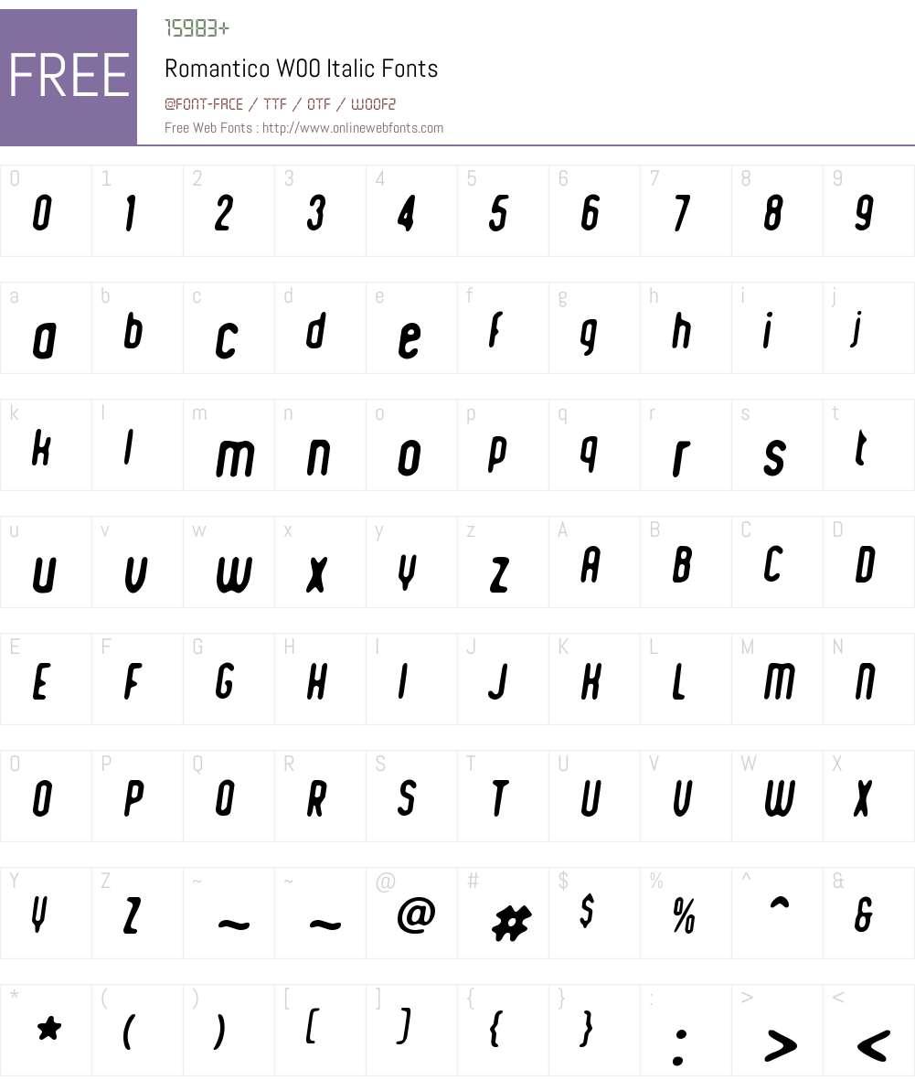 RomanticoW00-Italic Font Screenshots