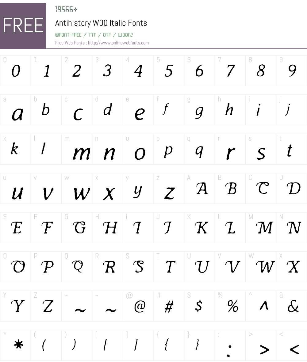 AntihistoryW00-Italic Font Screenshots