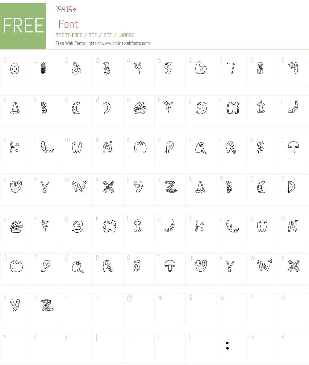 Scrap Food Font Screenshots