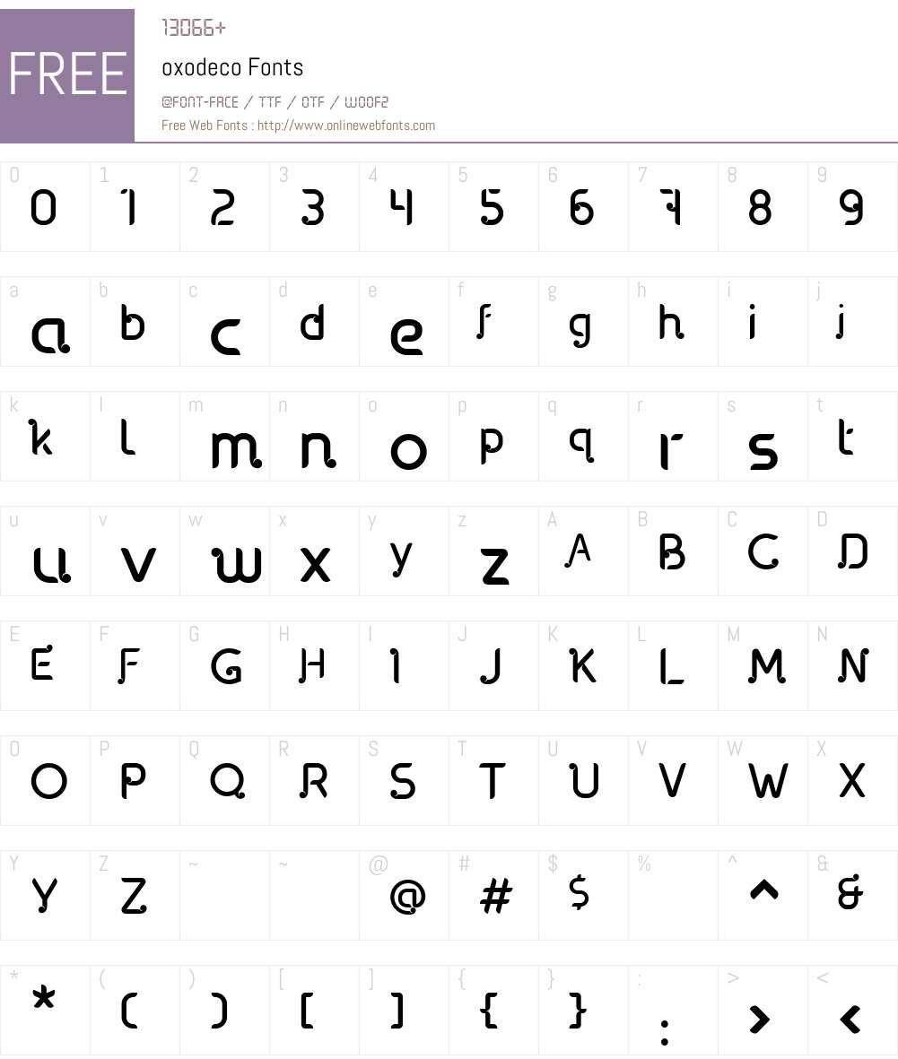 oxodeco Font Screenshots