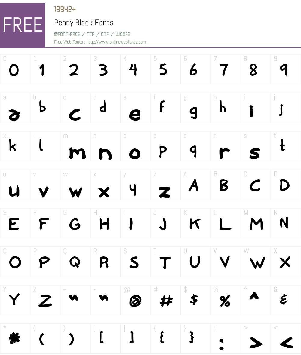 Penny Black Font Screenshots