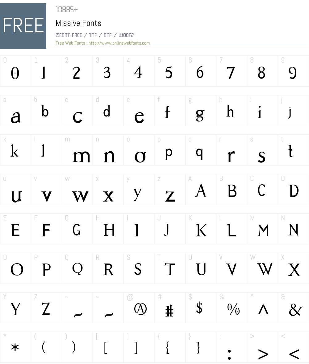 Missive Font Screenshots
