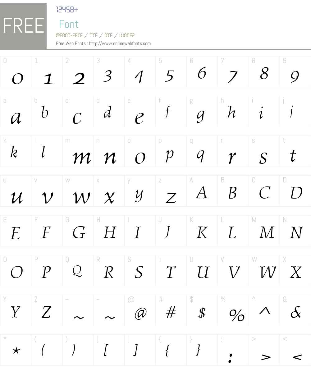 AmitieW01-RegularItalic Font Screenshots