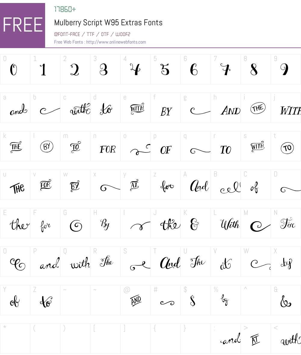 MulberryScriptW95-Extras Font Screenshots