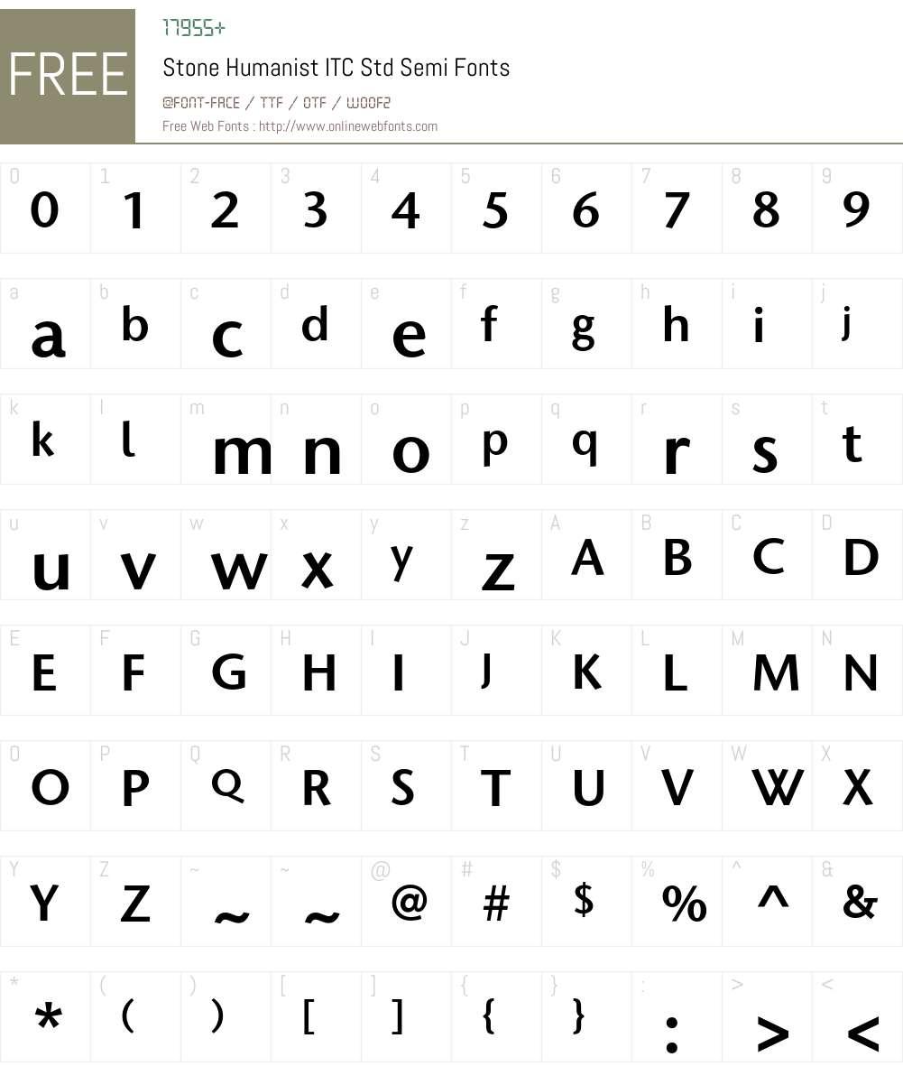 Stone Humanist ITC Std Font Screenshots