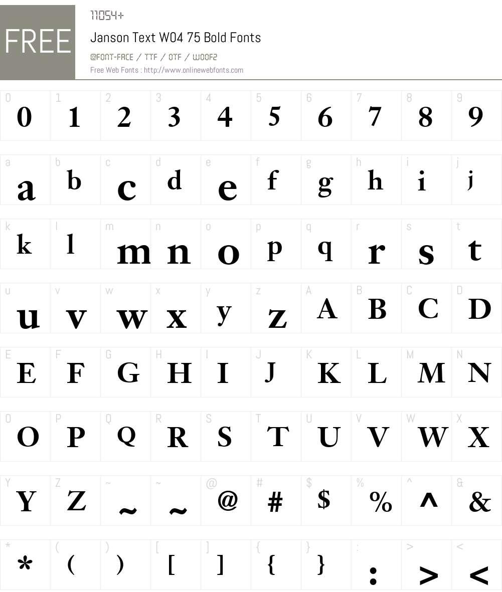 Janson Text Font Screenshots