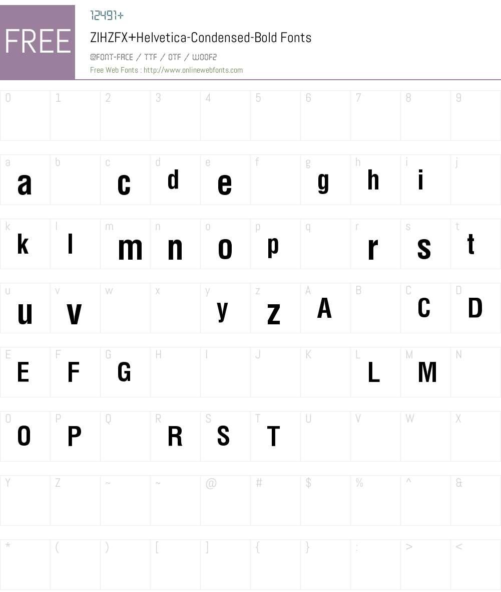 ZIHZFX+Helvetica-Condensed-Bold Font Screenshots