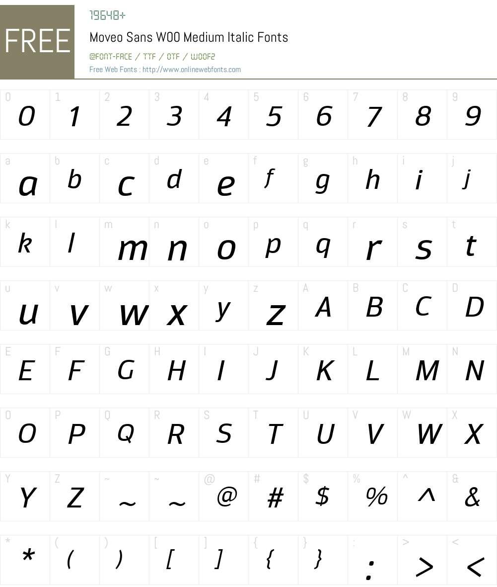 MoveoSansW00-MediumItalic Font Screenshots