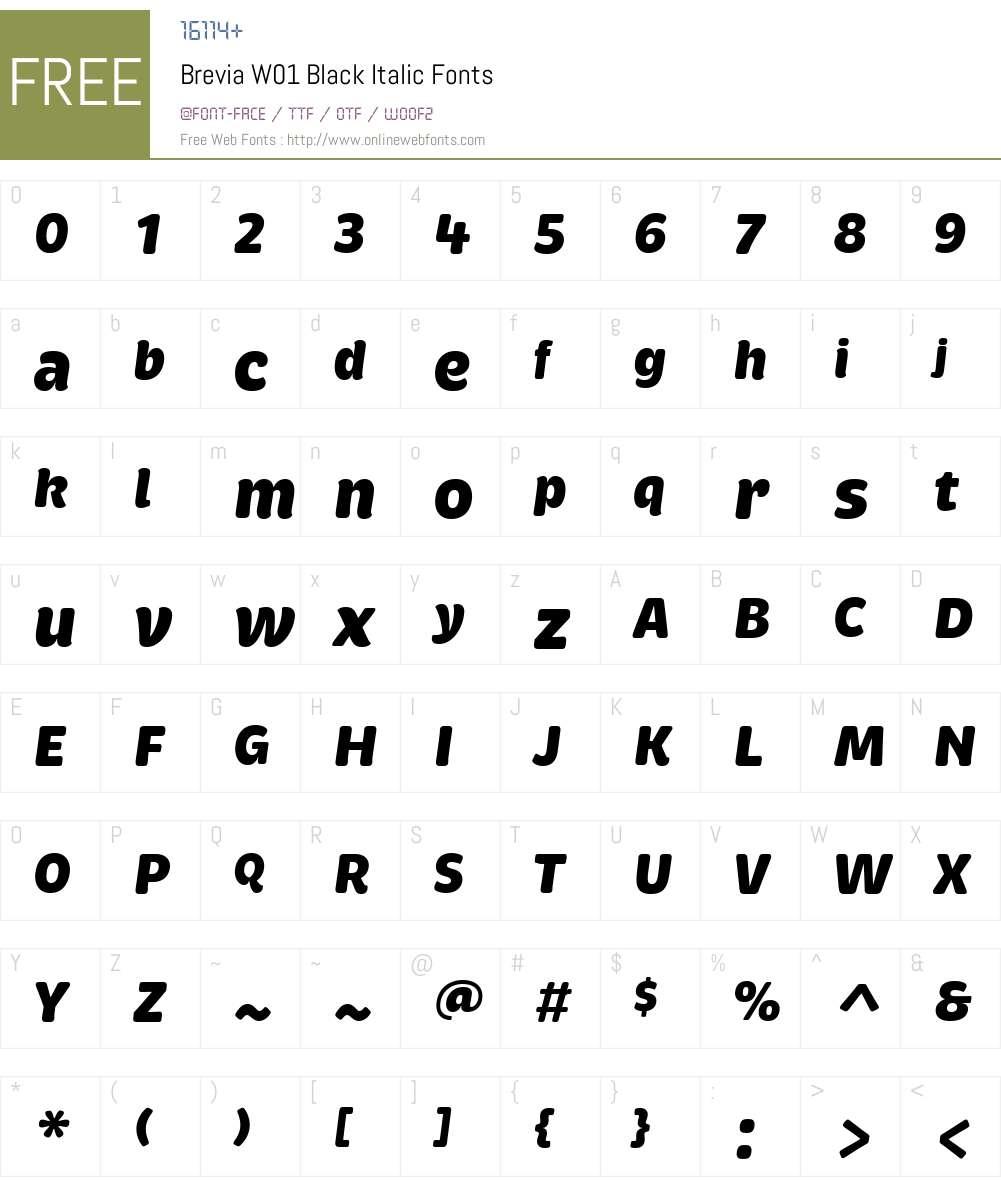 BreviaW01-BlackItalic Font Screenshots