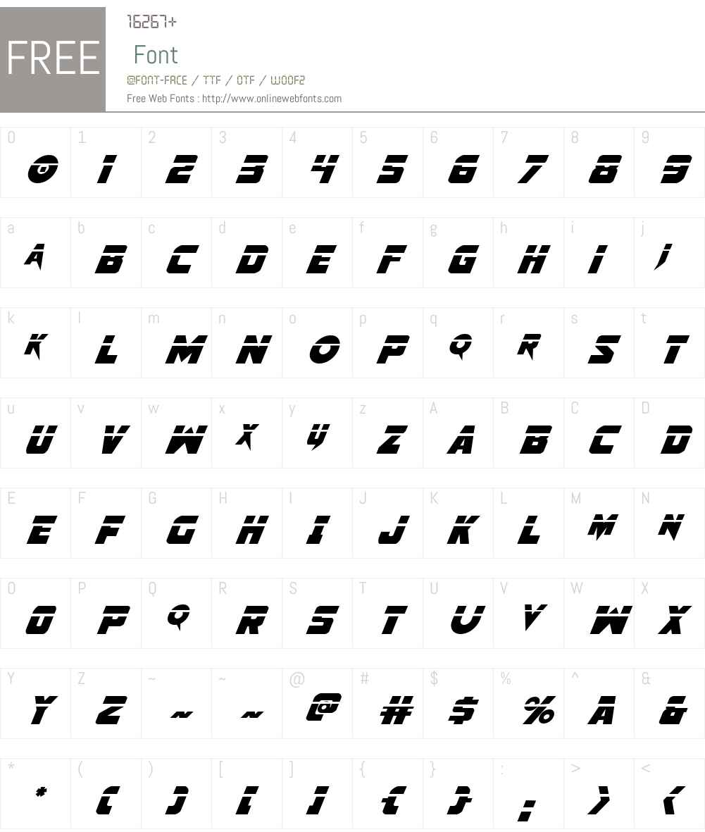 Pistoleer Laser Italic Font Screenshots