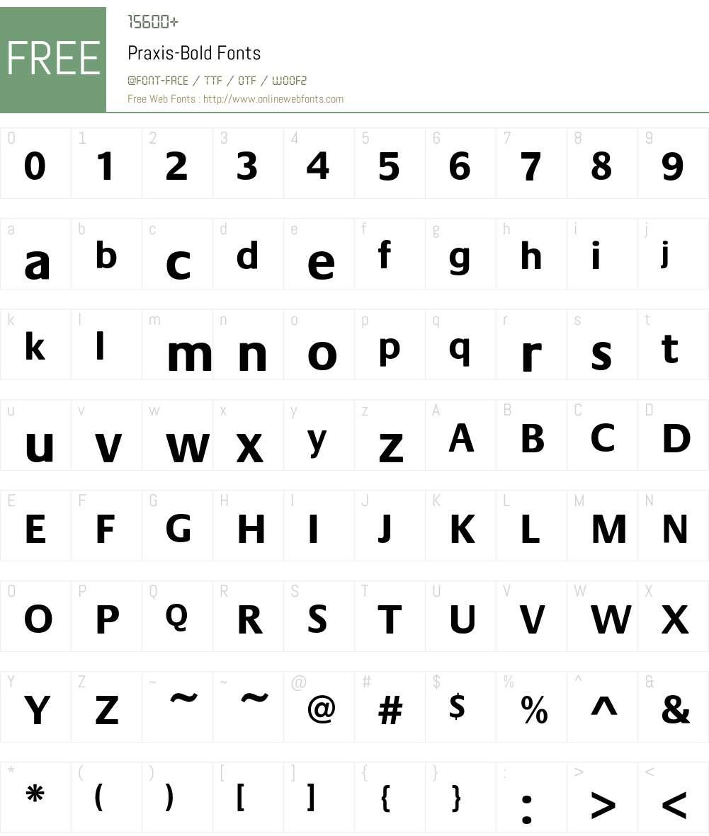Praxis-Bold Font Screenshots