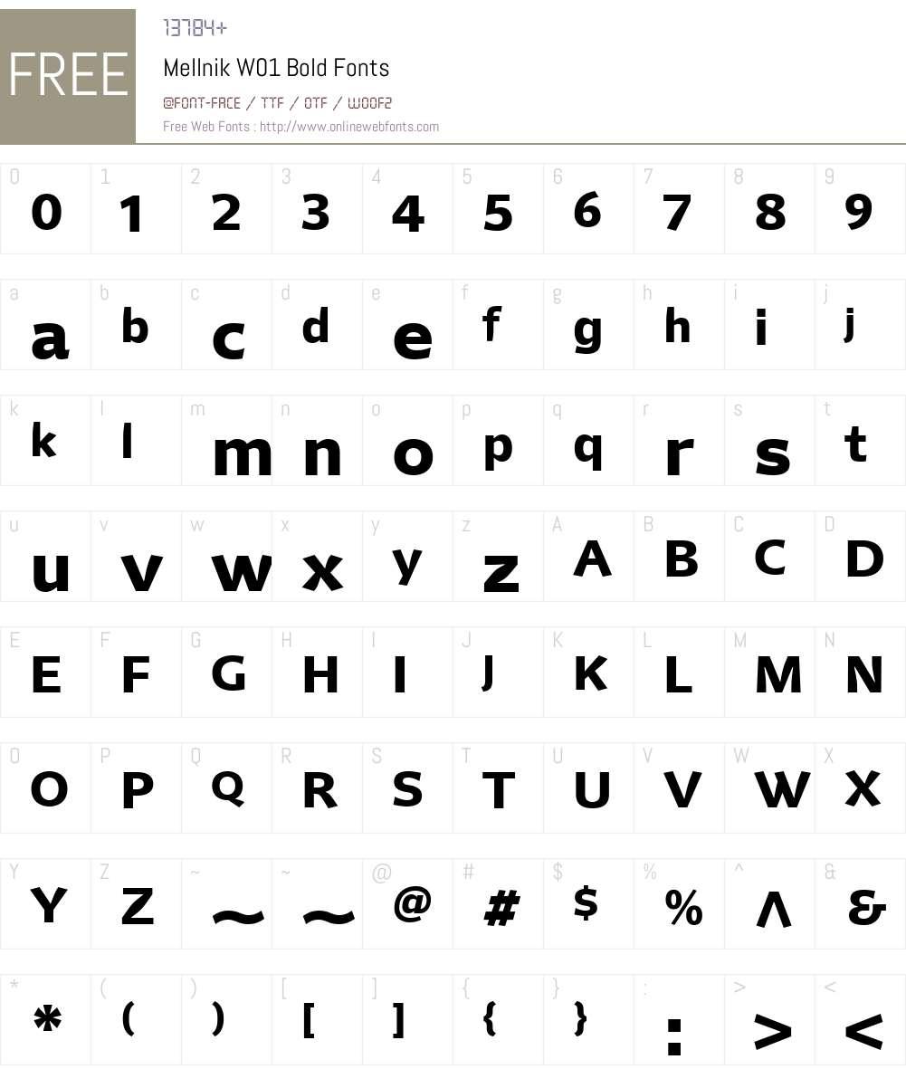 MellnikW01-Bold Font Screenshots