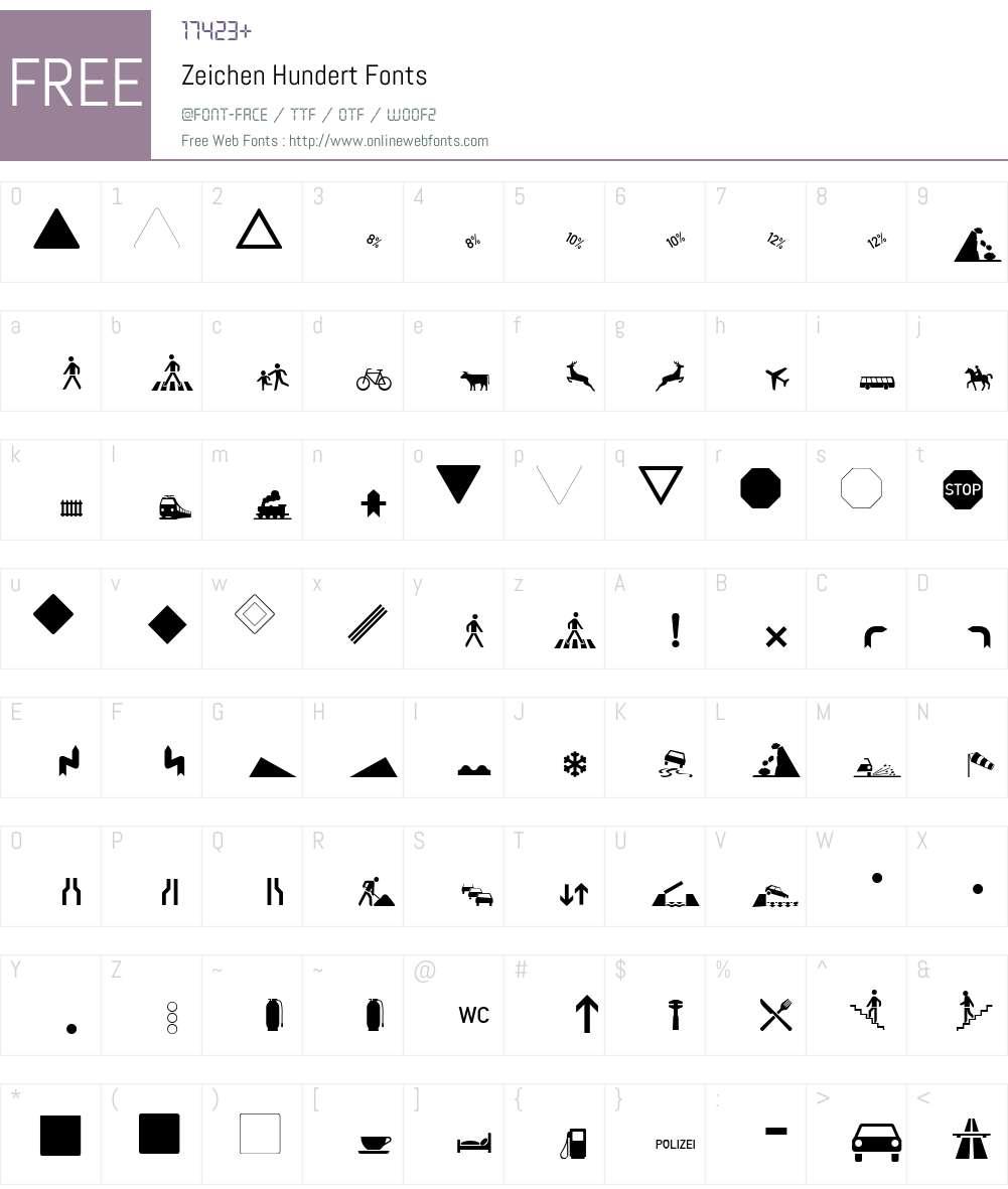 Zeichen Hundert Font Screenshots