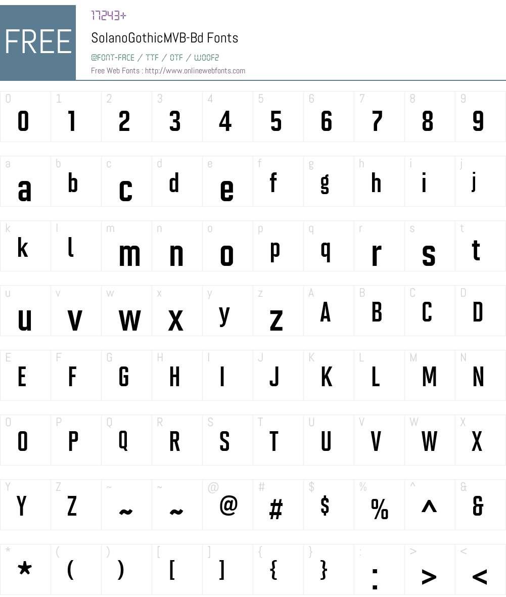 Solano Gothic MVB Rg Font Screenshots