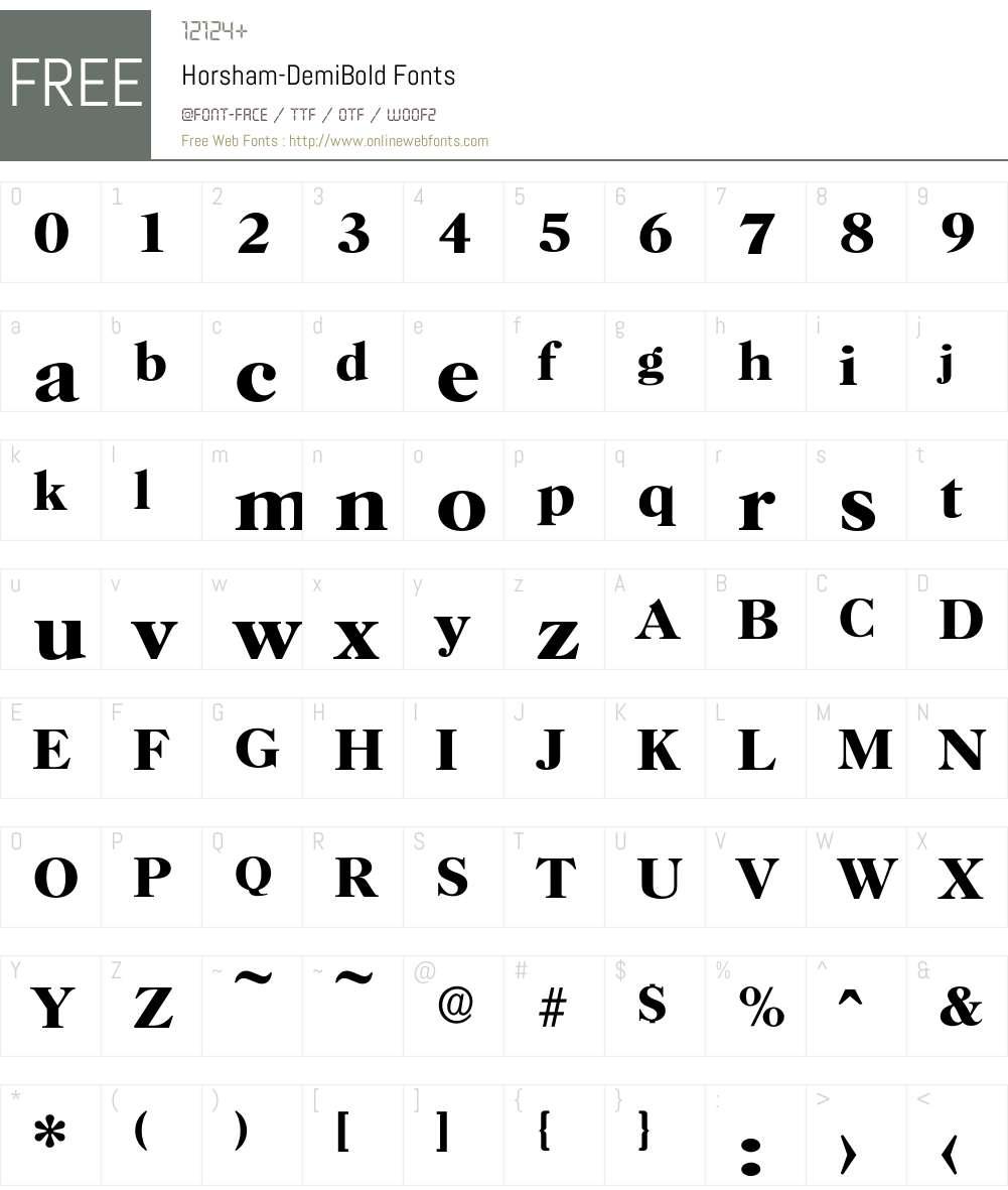 Horsham-DemiBold Font Screenshots