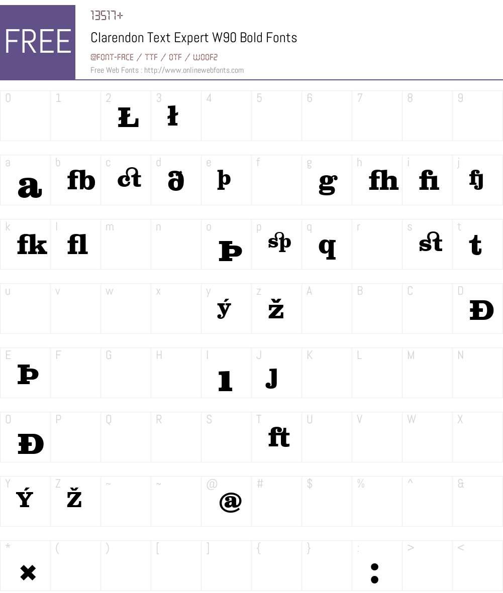 ClarendonTextExpertW90-Bd Font Screenshots