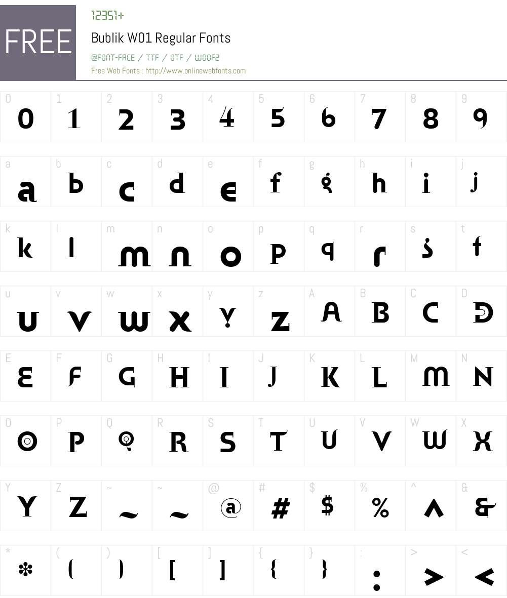 BublikW01-Regular Font Screenshots
