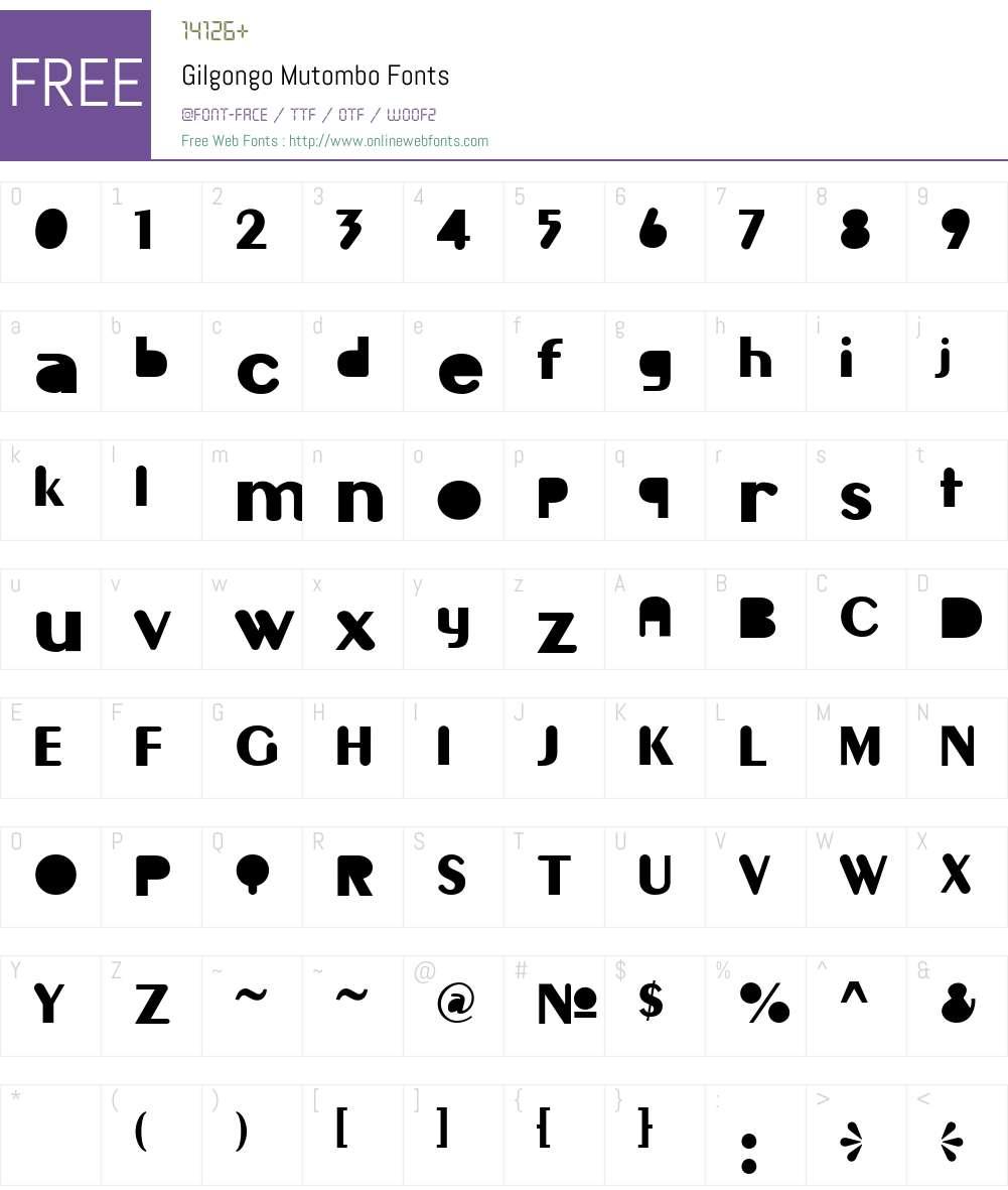 Gilgongo Mutombo Font Screenshots